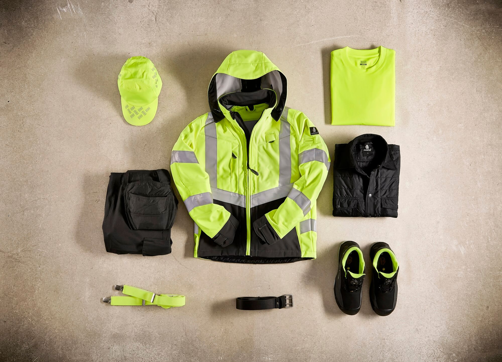 Fluorescent yellow - Jacket, T-shirt, Trousers & Safety footwear - Collage