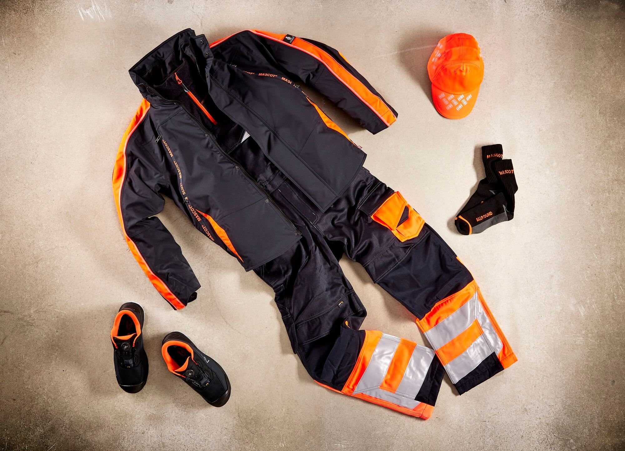 Fluorescent orange - Safety Shoe, Work Trousers & Jacket - Collage