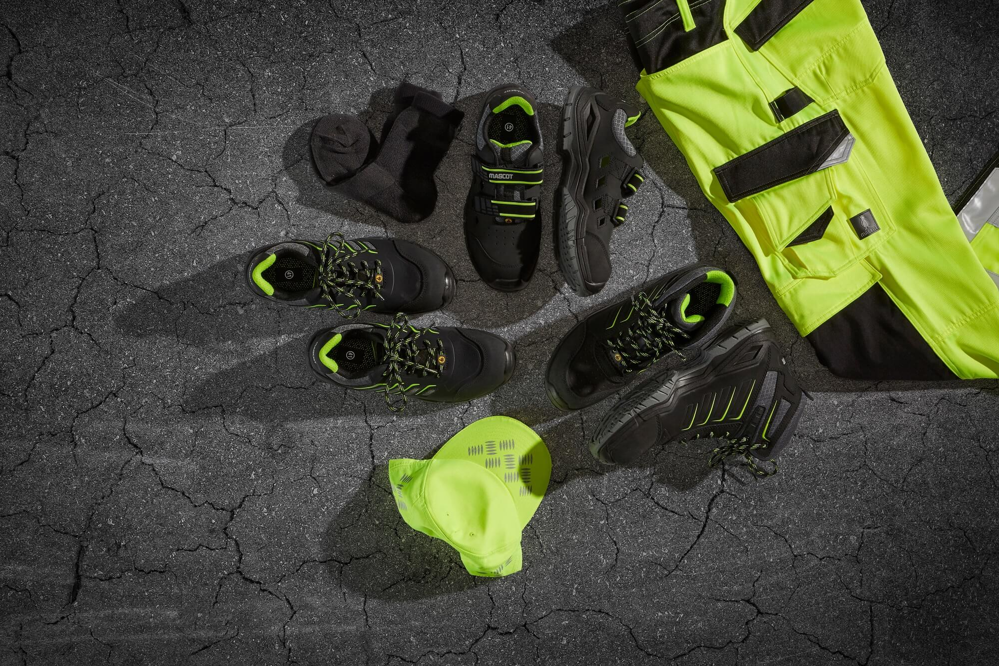Collage - Hi-vis Trousers & Safety footwear - Fluorescent yellow