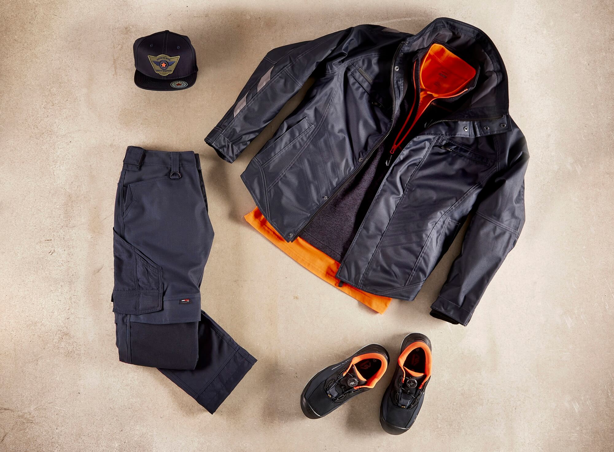 Work Jacket, Trousers, Cap & Safety footwear - Navy - Collage