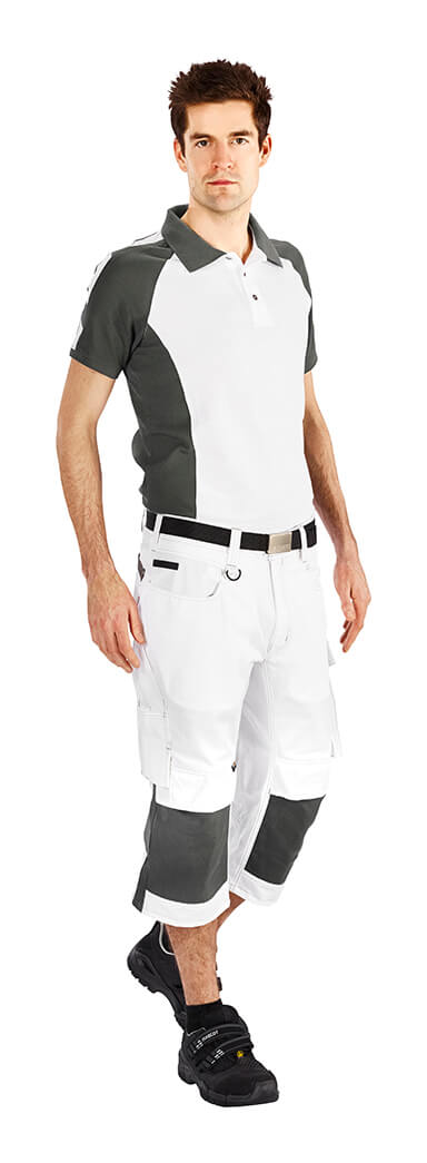 Man - White - ¾ Work Trousers & Polo Shirt - MASCOT® UNIQUE