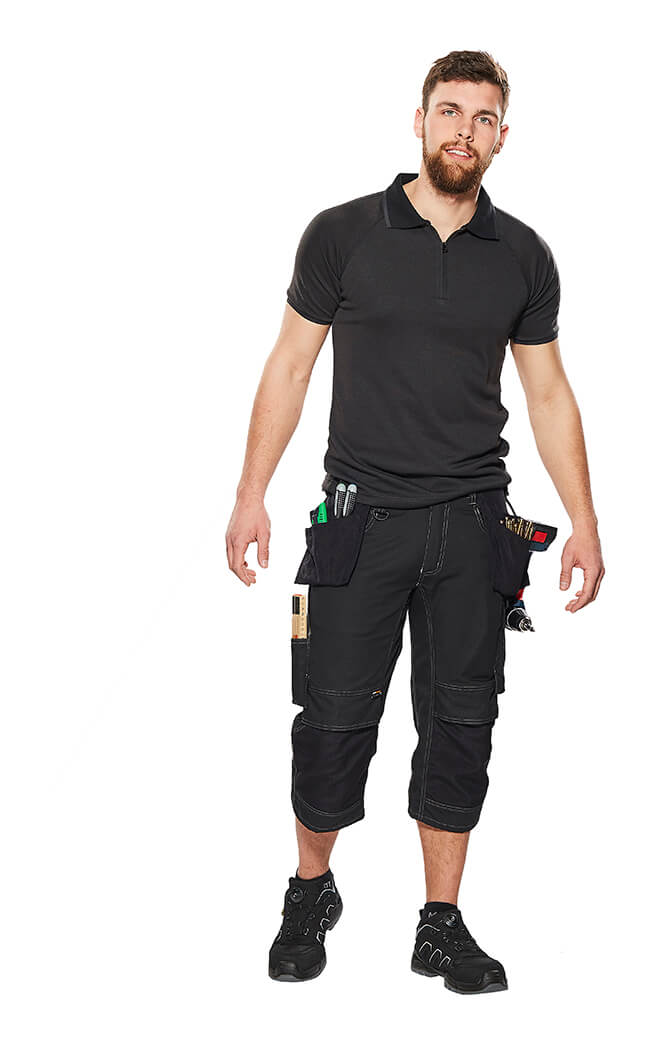 Polo Shirt & ¾ Length Trousers with kneepad pockets and holster pockets - Black - Model