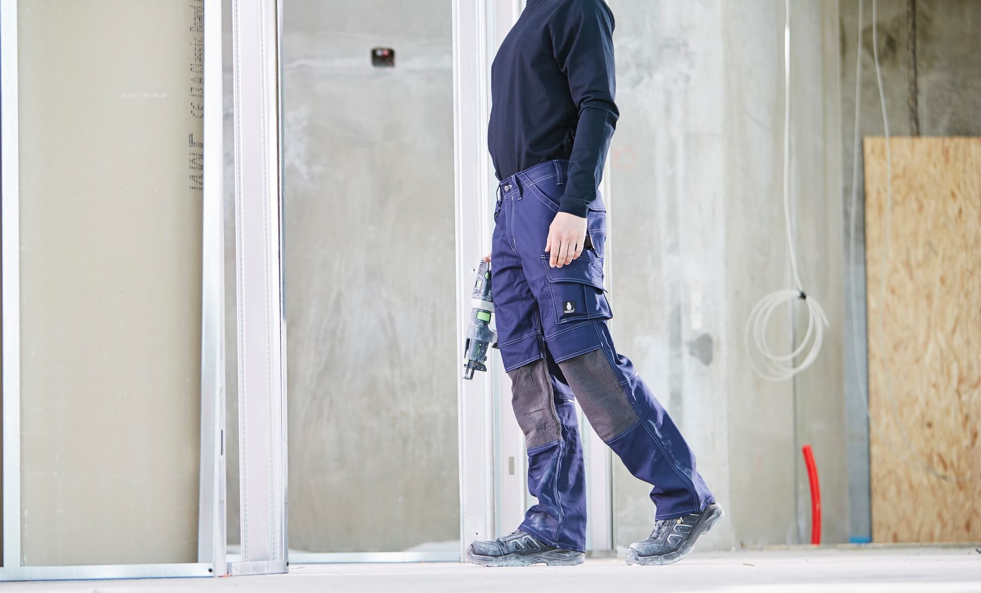Work Trousers & T-shirt, long-sleeved - Navy - Craftmen and light building