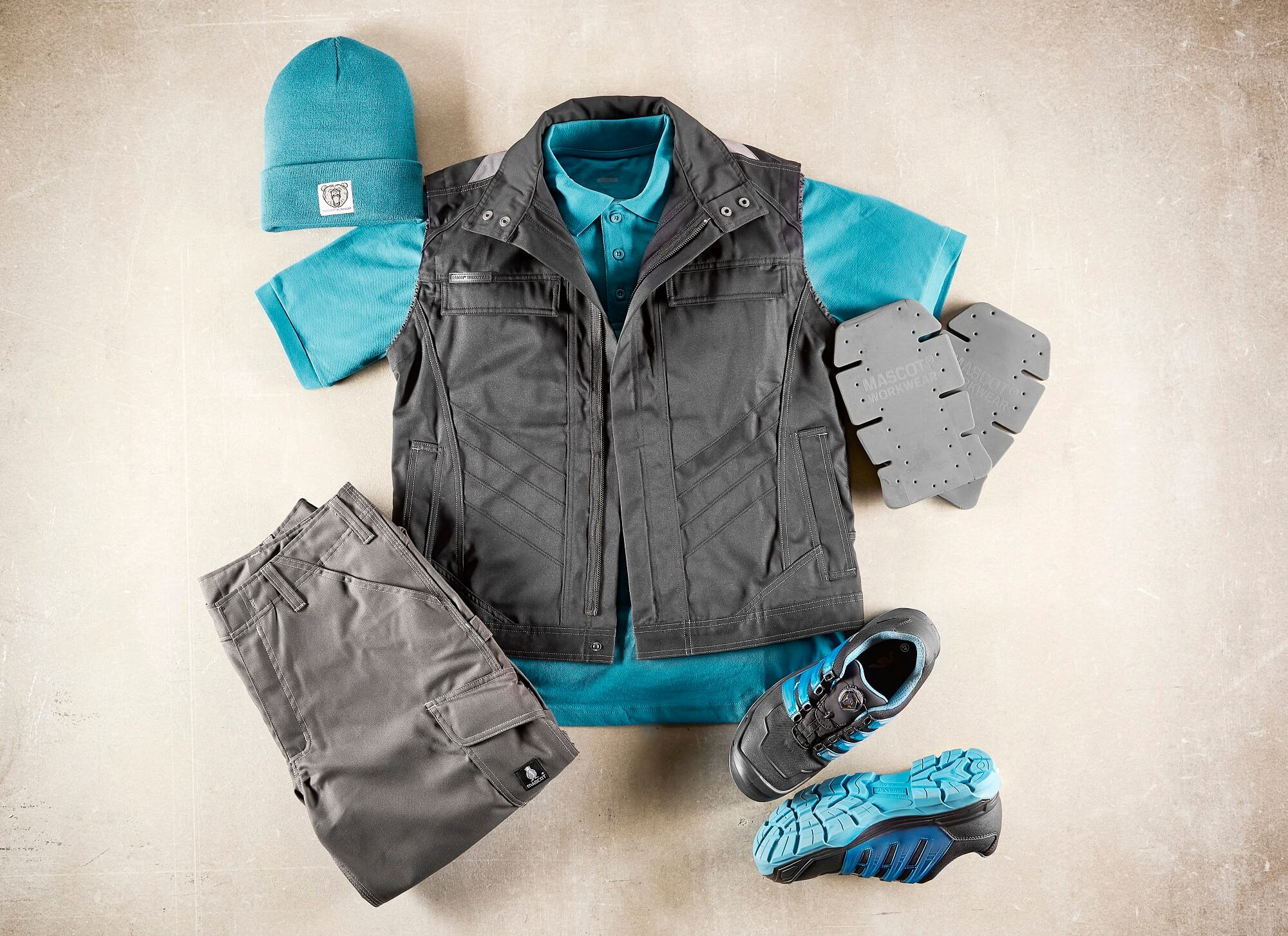 Grey - Work Gilet, Polo shirt & Trousers with kneepad pockets - Collage