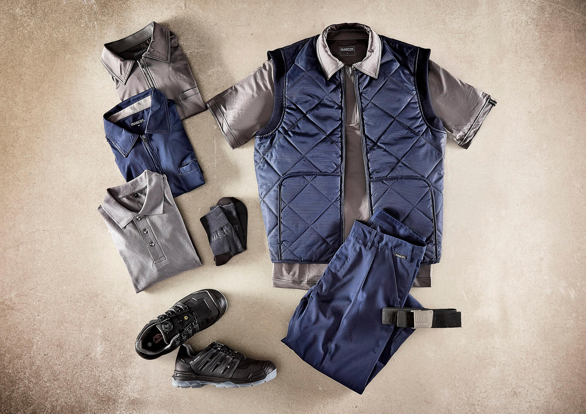 Navy - Thermal Gilet, Polo shirts & Trousers with thigh pockets - Collage