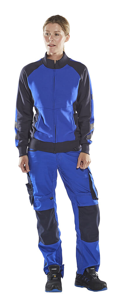 Woman - Royal blue - MASCOT® Fleece Jumper with zipper & Work Trousers