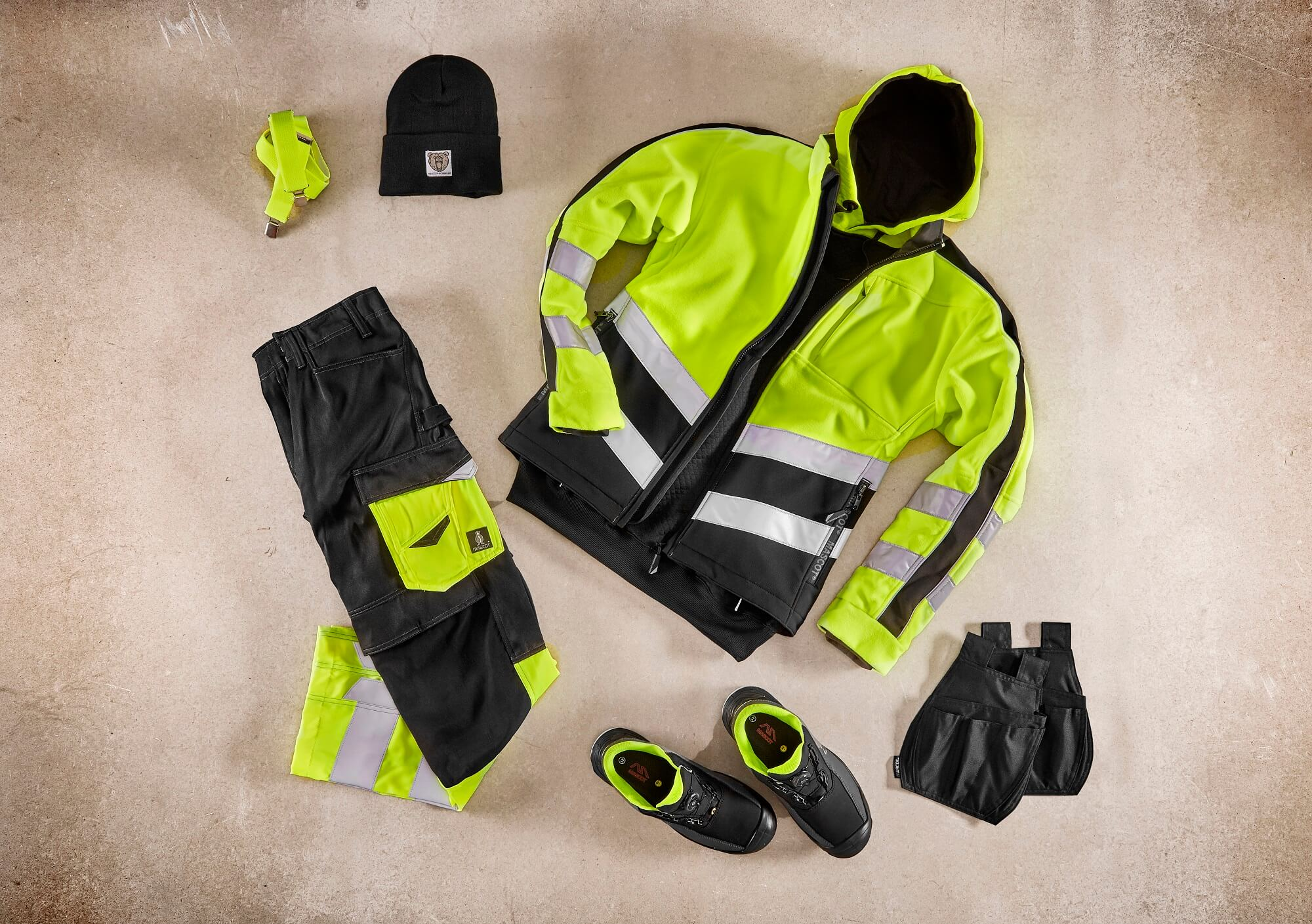 Collage - Fleece Jacket, Hoodie & Trousers - Fluorescent yellow