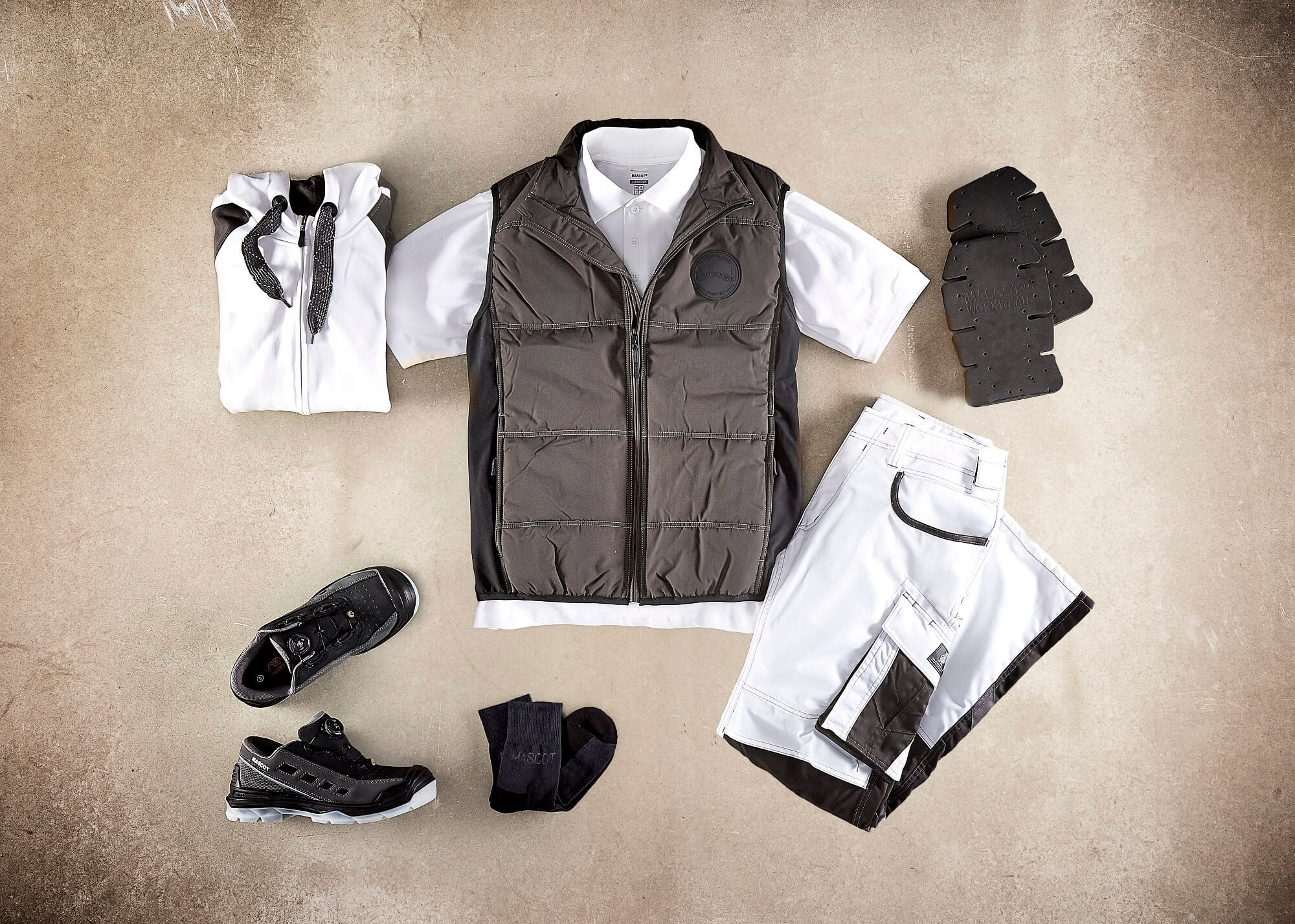 Thermal Gilet, Hoodie with zipper, Polo shirt, Trousers & Safety Sandal - White - Collage