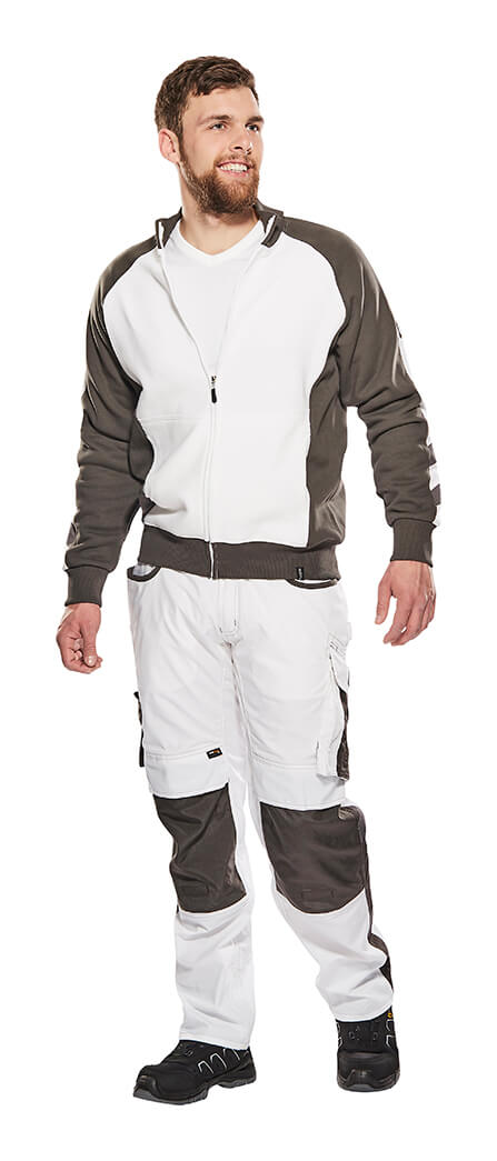 Man - White - Knitted Jumper with zipper & Trousers with kneepad pockets - MASCOT® UNIQUE
