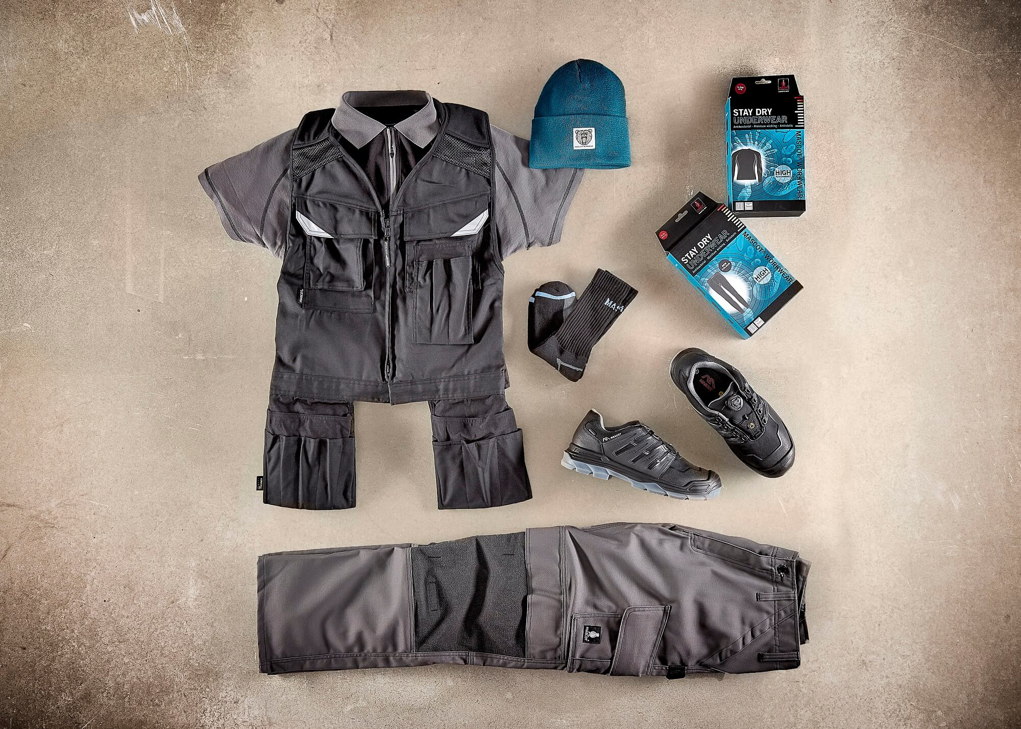 Grey - Tool Vest, Polo shirt & Trousers with kneepad pockets - Collage