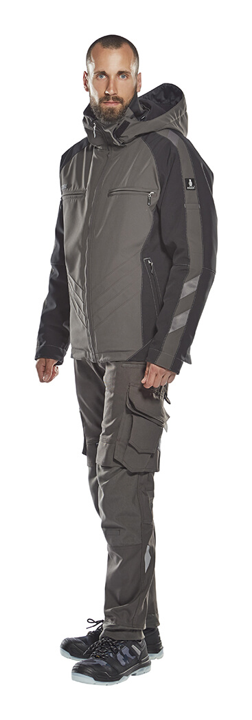 Trousers with kneepad pockets & Winter Jacket - Grey - Model - MASCOT® UNIQUE