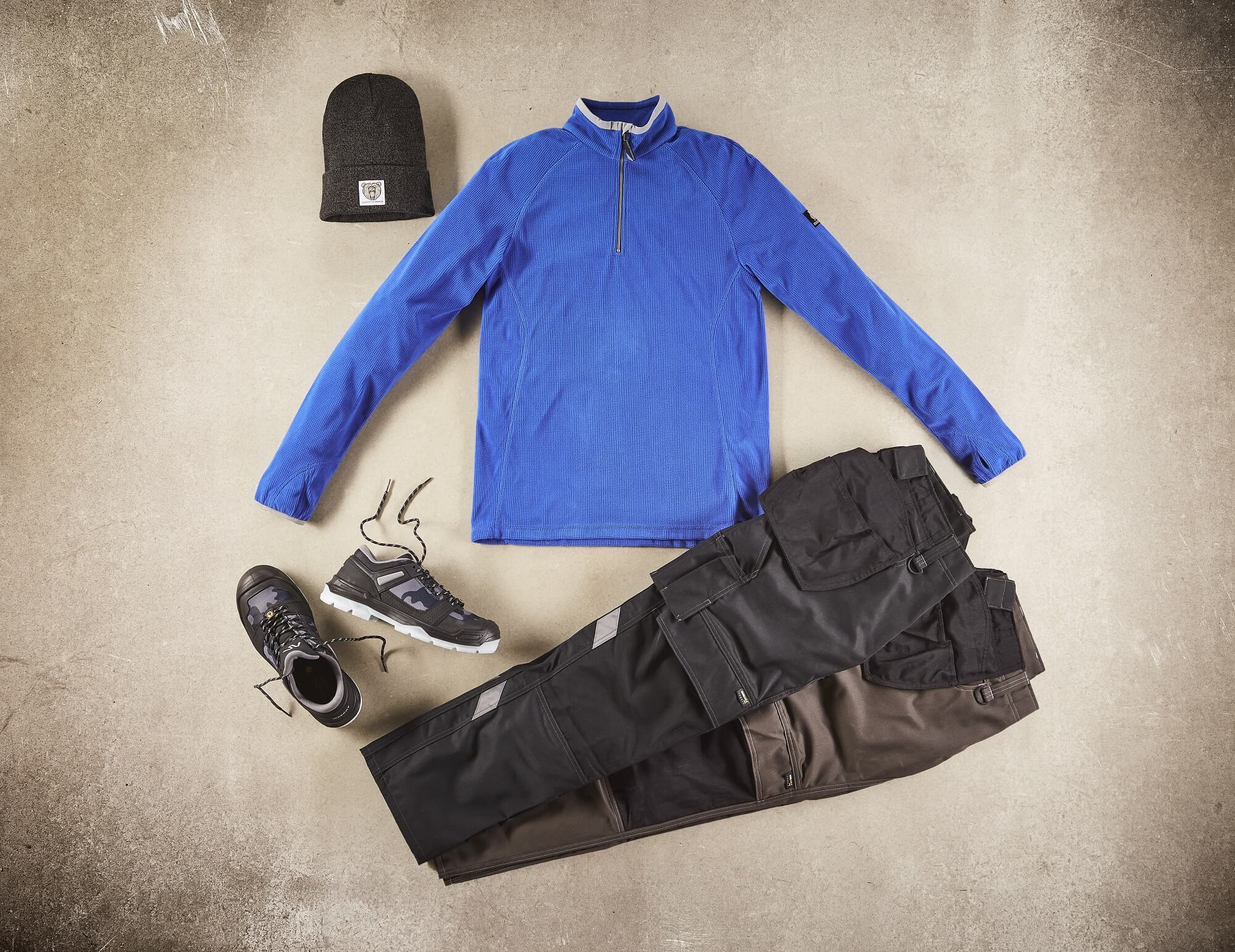 Half Zipped Jumper & Trousers with kneepad pockets and holster pockets  - Royal blue - Collage