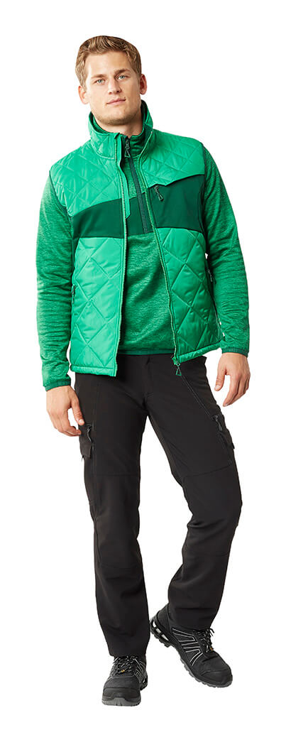 Green - Trousers, Thermal Gilet & Half Zipped Jumper - MASCOT® ACCELERATE