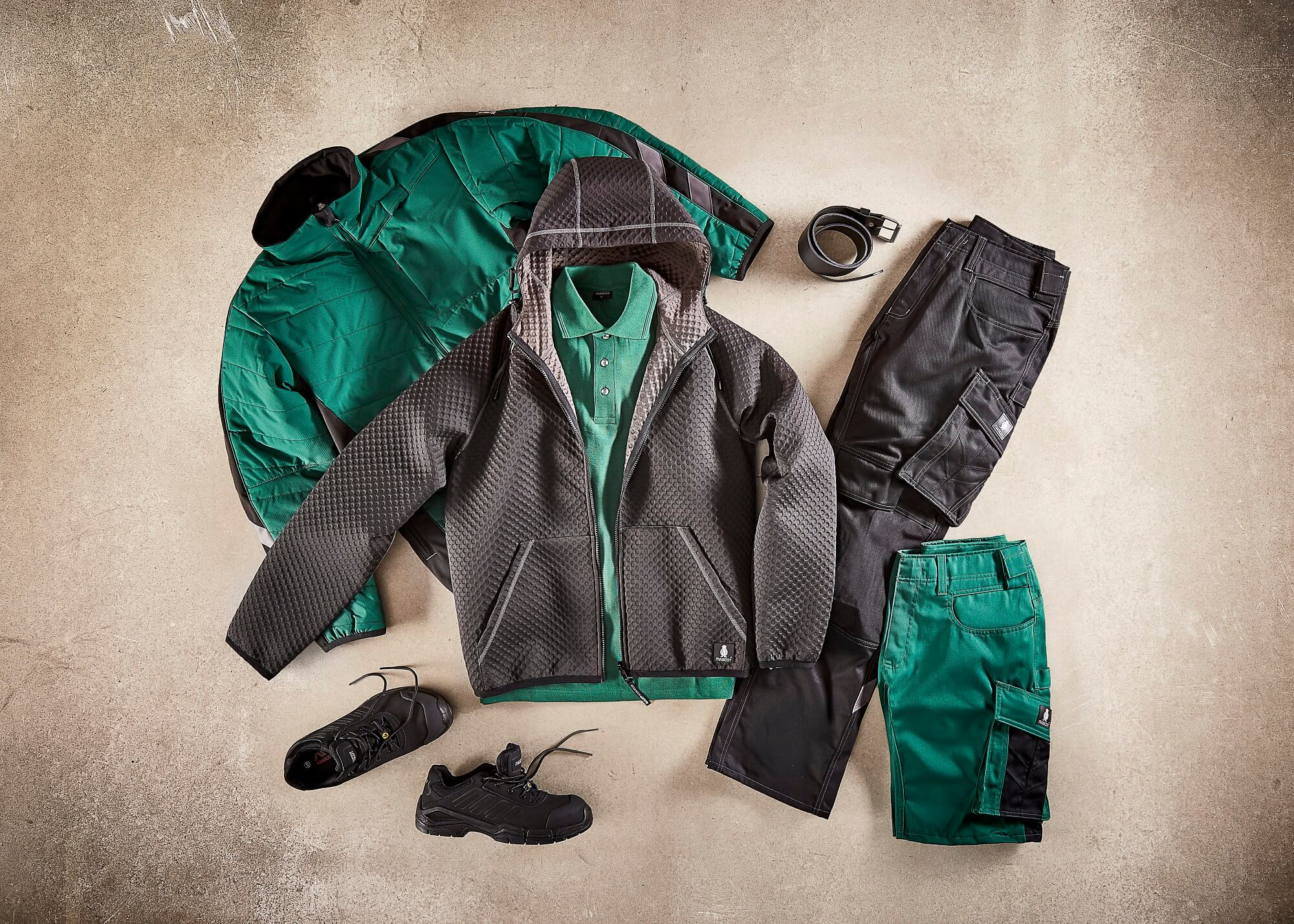 Green - Jacket, Short-Sleeve Polo Shirt & Work Shorts - Collage