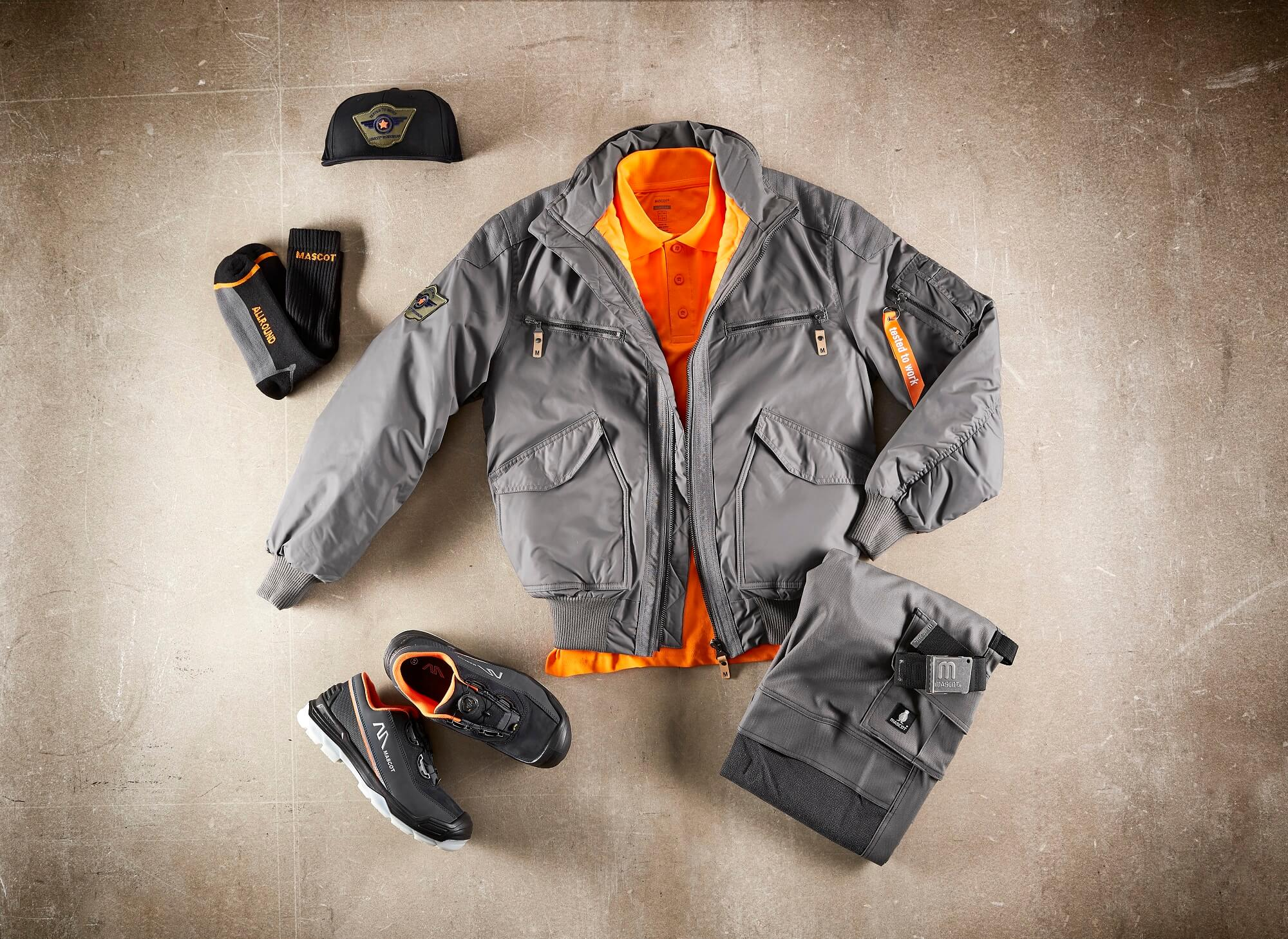 Pilot Jacket, Trousers, Socks & Safety Shoe - Grey - Collage