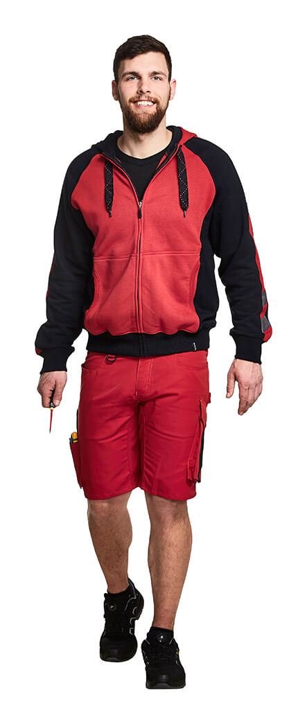 Red - UNIQUE Work Shorts & Hoodie with zipper - Model
