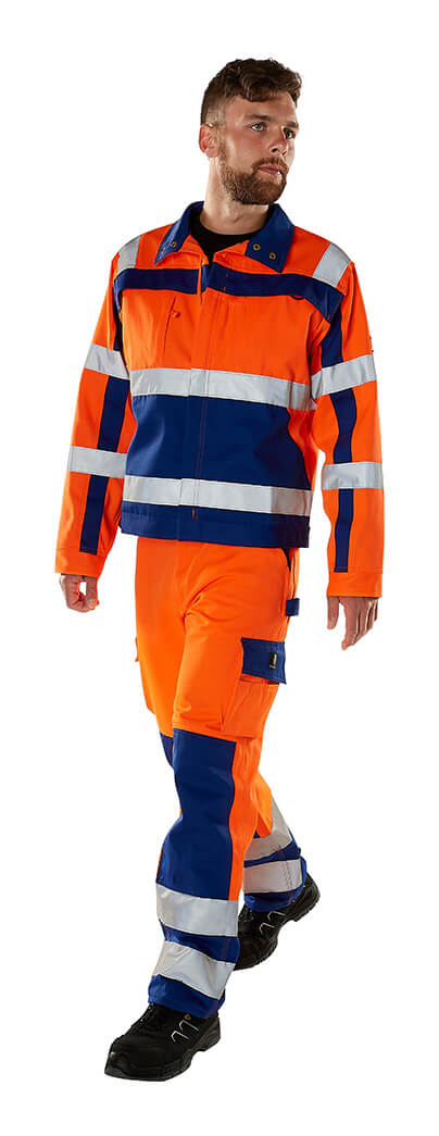 MASCOT® SAFE COMPETE Trousers with kneepad pockets & Jacket - Fluorescent orange - Model